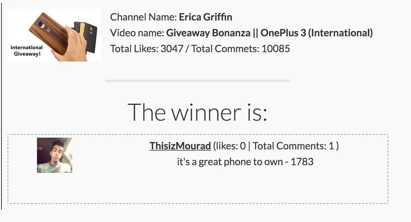 Winner of the OnePlus 3!